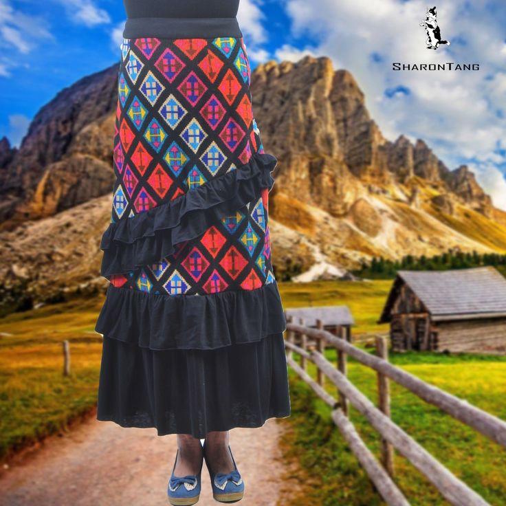 SHARON TANG Modest Apparel Long Multi-Color Ruffle Layer Skirt - S