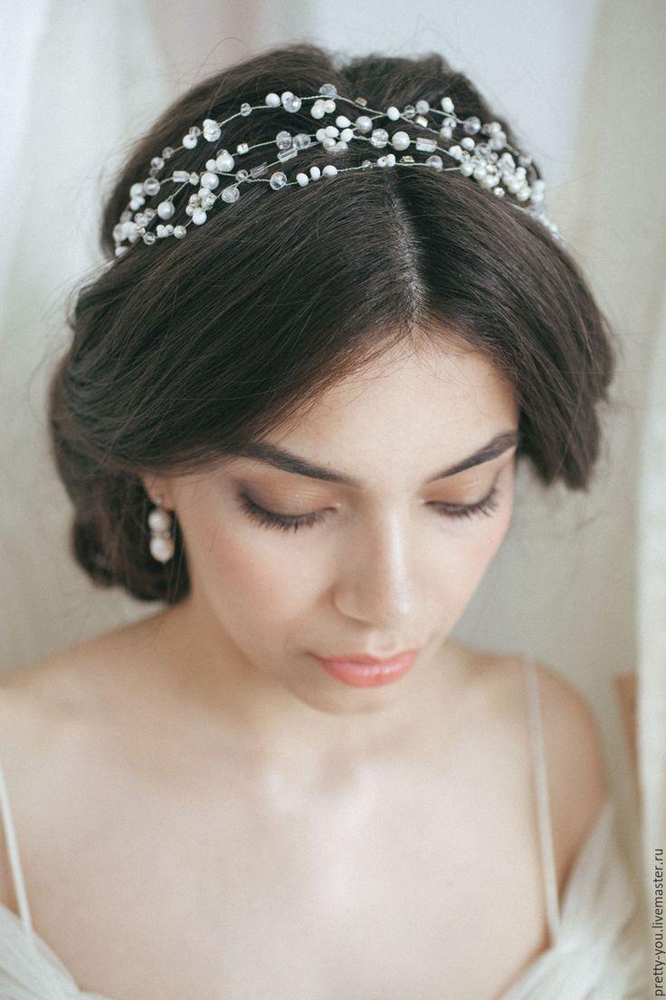 Купить Свадебный венок для волос. Венок на голову. Украшение для невесты - белый, венок, украшение