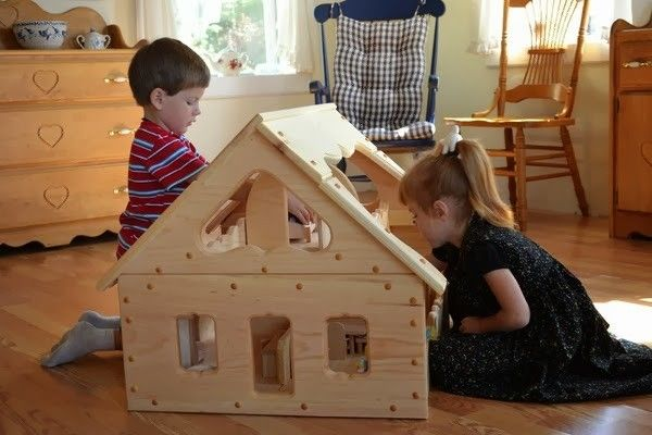 The Maine Dollhouse - Waldorf Wooden Doll House. Big enough for multiple children to play at once!: Dolls Houses, Angel Wooden, Waldorf Toys, Gifts Ideas, Wooden Toys, Wooden Dollhouses, Big Dollhouses, Maine Dollhouses, Natural Wooden