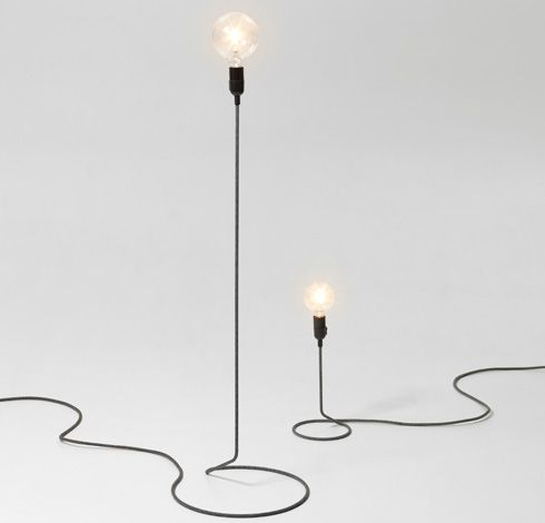 CORD LAMP by Form Us With Love for DESIGN HOUSE STOCKHOLM. The textile cord transforms itself into a steel tube and holds aloft an oversized globe bulb, complete with dimmer and all. NOW at Tempo Berlin, www.tempoberlin.com