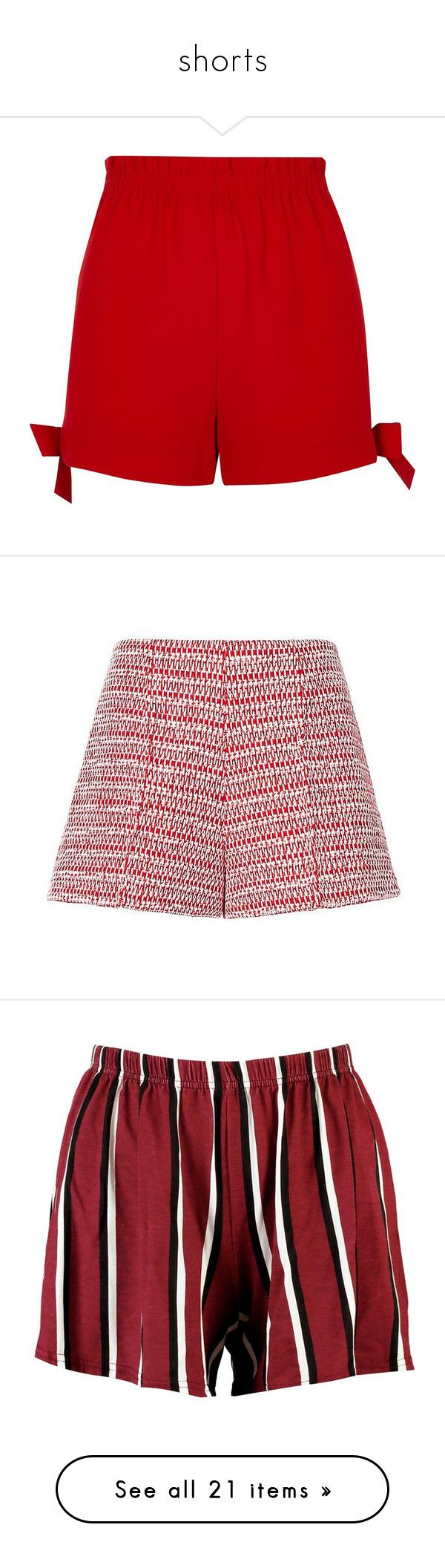 """shorts"" by harthkai on Polyvore featuring shorts, casual shorts, red, women, elastic high waisted shorts, stretch waist shorts, woven shorts, high-rise shorts, red high waisted shorts and bottoms"