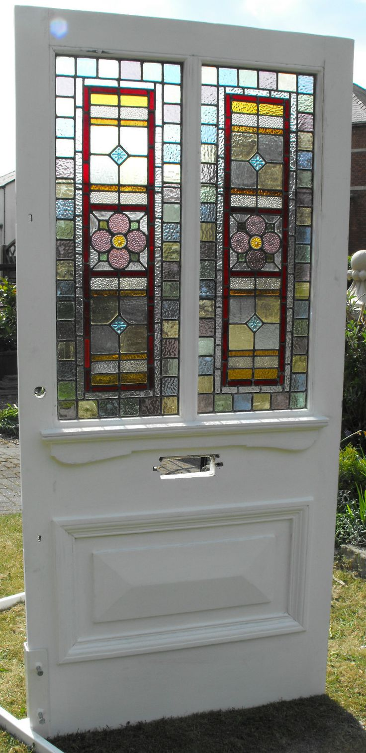 Substantial Victorian external door leaded stained glass | eBay
