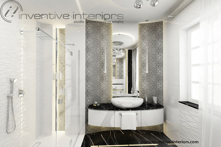 Projekt łazienki Inventive Interiors - ekskluzywna łazienka ze srebrną mozaiką i ścianą po łuku