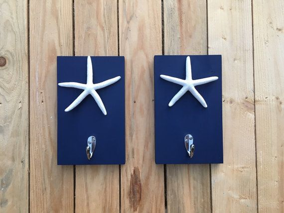 Starfish Towel Hooks Beach Towel Rack Set Of 2 Pool By PeavyPieces