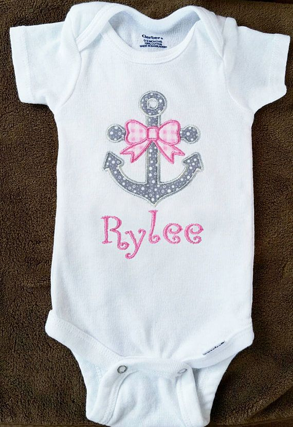 9 best embroidery baby images on pinterest 12 months baby personalized baby girl anchor onesie embroidered grey and pink anchor with bow nautical girl negle Gallery