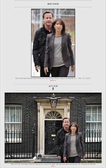 David & Samantha Cameron placed at new residence with photo editing! Quick photo editing is free.  http://www.freephotoediting.com/samples/change-background/036_david-and-samantha-moved-to-10-downing-street.htm
