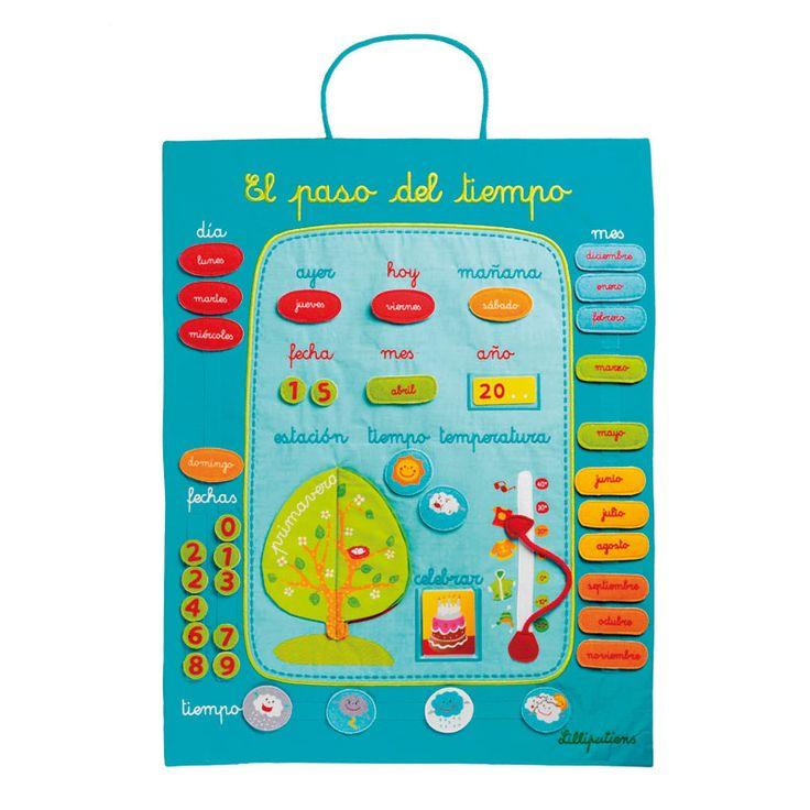 Calendario de tela.Para colgar en la pared y aprender los días de la semana,los meses,las estaciones.Fácil manejo, las piezas y el calendario tienen velcro.