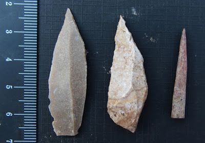 Stone tools from Jordan point to dawn of division of labour. Two stone tool points were made using a prismatic blade technique (left and center), and a bone point or needle (right) [Credit: Aaron Stutz/Emory University]