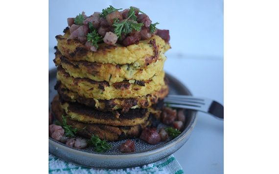Savory cauliflower pancakes with diced bacon.