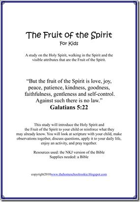 3 week Fruit of the Spirit study for kids, free download