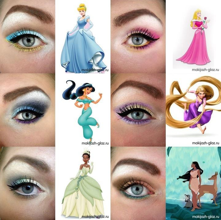 Disney princess eye makeup. I can't wait to try one of these out each day we're there.