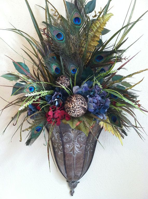 Peacock Feather Wall Sconces with blue & red hydrangea silk flowers by Greatwood Floral Designs.