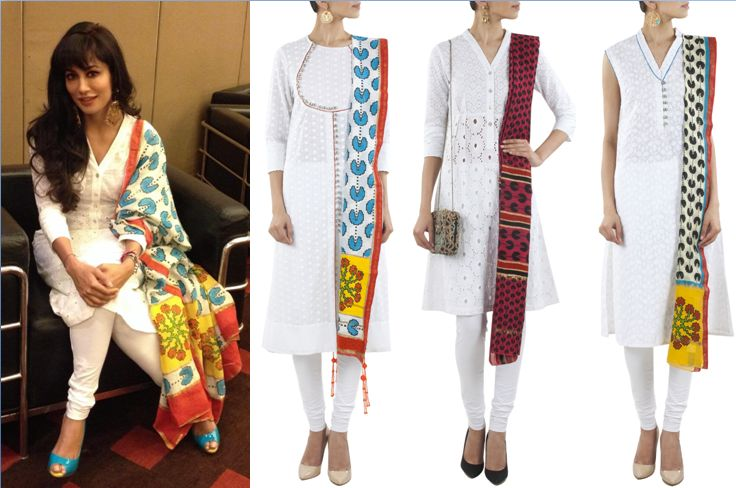 GET THIS LOOK: Chitrangada Singh flaunts the alluring white kurta with the signature print dupatta by Surendri by Yogesh Chaudhary. Shop the collection at http://www.perniaspopupshop.com/designers-1/surendri-by-yogesh-chaudhary