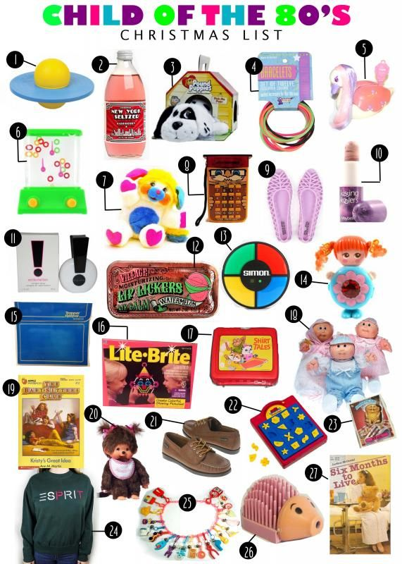 {girl of the 80s christmas list} pogo ball, new york seltzer, pound puppies, neon rubber bracelets, keypers, water ring toss, popples, mr. professor, jellies, kissing koolers, exclamation perfume, lip licker tins, simon, sweet secrets, trapper keeper, lite brite, shirt tales lunch box, cabbage patch dolls, monchichi, garbage pail kids, esprit clothes, plastic charm necklaces.