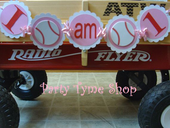 Girls Baseball Themed Sports Banner,  I AM 1 One Highchair Banner, League of Their Own, First Birthday Party Decorations in Red White & Pink by partytymeshop on Etsy https://www.etsy.com/listing/181660361/girls-baseball-themed-sports-banner-i-am