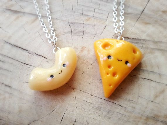 BFF Mac and cheese friendship necklace, macaroni and cheese pendant, best friend charm, bff food necklace, cheese necklace, kawaii charm