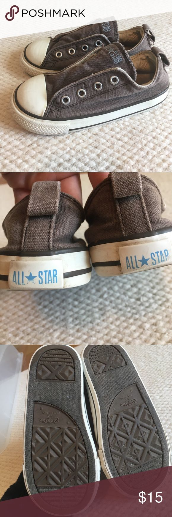 Boys CONVERSE Velcro slip-on! Size 9 Boys CONVERSE Velcro slip-on! Size 9 excellent condition. Vintage brown-grey wash. Color is supposed to look worn in... this is how they were purchased!! Converse Shoes