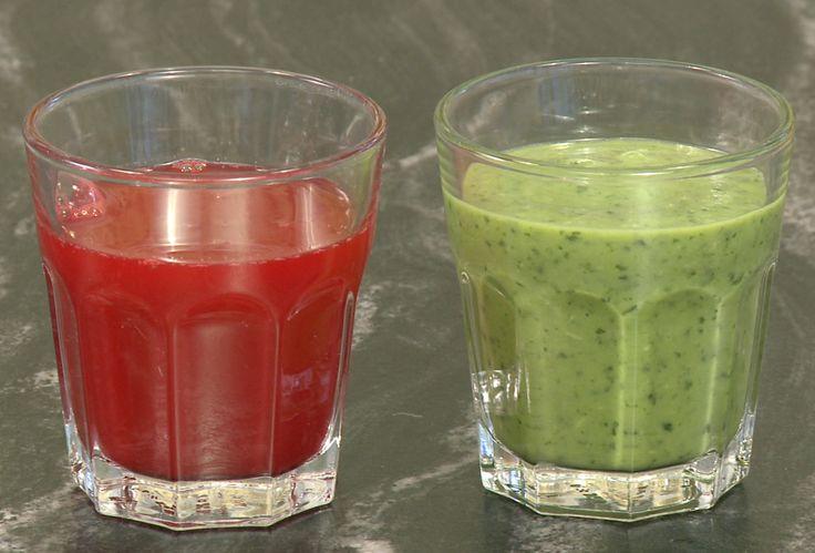 Lene Hansson viser dig her, hvordan du nemt og hurtigt laver en Grøn go' morgen smoothie og en forfriskende grøntsagsjuice.