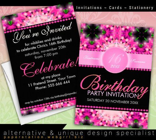 39 best birthday party invitations images on pinterest birthday pink princess sweet candy girly 16th birthday invitations filmwisefo
