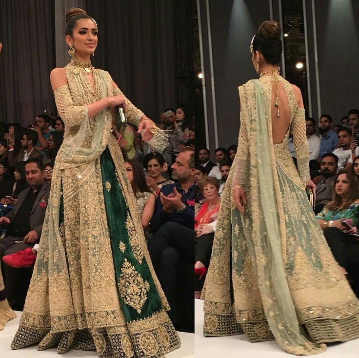 Beautiful Lehenga at Pakistan Fashion Week (motifs can be smaller) Desi Indian Wedding Wear via @sunjayjk