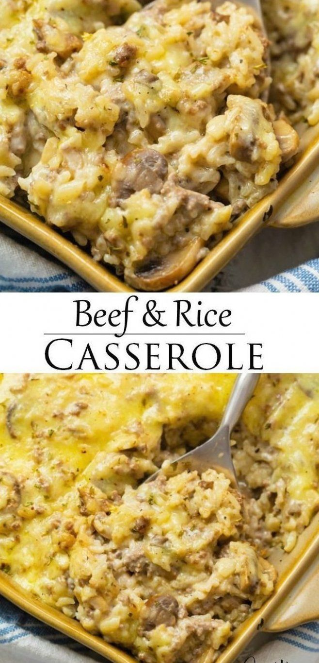 This Cheesy Ground Beef And Rice Casserole Is Easy To Make With Pantry Ingredients Like Cream Of Mushroom Soup Yo In 2020 Beef And Rice Rice Casserole Cooking Recipes