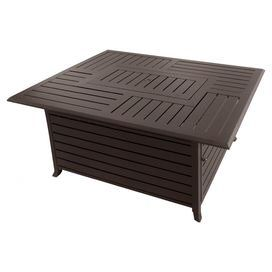 """Product: FirepitConstruction Material: Aluminum Color: BronzeFeatures: Slatted panels Flared legsAccommodates: (20) Pound propane tank - not included Dimensions: 22.4"""" H x 37.4"""" W x 49.6"""" D"""