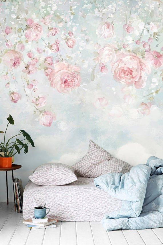 Watercolor Flowers Floral Wall Murals Wallpaper Wall Mural Spring