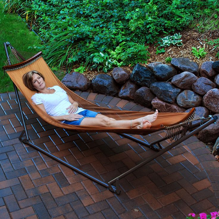 Features:  -Includes 1 folding frame, 1 hammock, 1 carrying case.  -Sturdy one-piece steel frame.  -Hammock bed is made of heavy duty breathable mesh fabric.  -Easy setup, takes less than 2 minutes.
