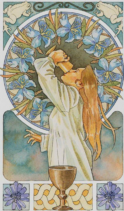 Not accustomed to seeing the Ace of Cups with a human figure but this one from the Sorcerers Tarot conveys the right feel nonetheless menageatarot.com