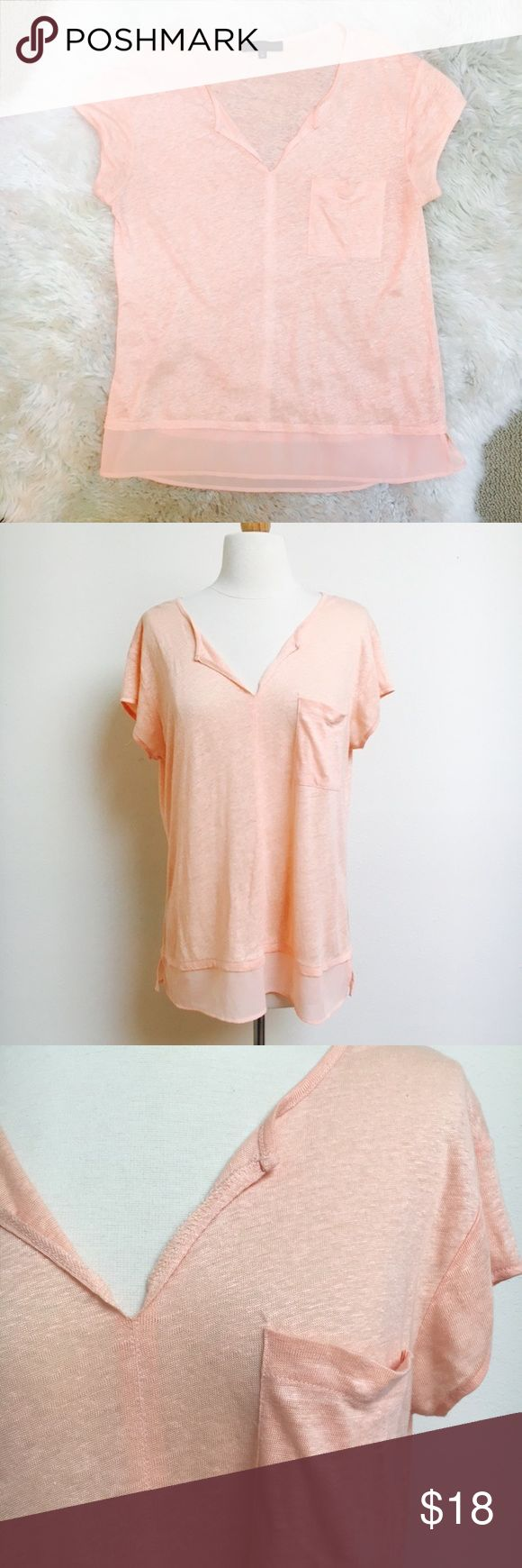 Peach Pocket Tee Lightweight pocket tee from sanctuary with a pocket on the front and a sheer trim on the bottom. The shirt is a little more peach colored than is showing up in the photos, but it's definitely subdued. Excellent condition! Sanctuary Tops Tees - Short Sleeve