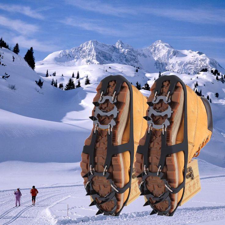 18 dientes antideslizante hielo nieve escalada antideslizante cubiertas del zapato grapas grapas pico m/l caliente venta
