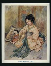 Antique NURSERY Print - 'Mimosa Mends Her Frock' by ALICE M. COOK - 1912