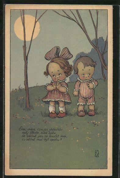 old postcard: AK Weinende Kinder im Mondschein