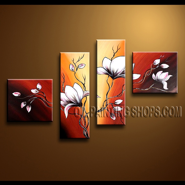 Amazing Contemporary Wall Art Artist Oil Painting For Bed Room Tulip Flowers. This 4 panels canvas wall art is hand painted by Anmi.Z, instock - $128. To see more, visit OilPaintingShops.com