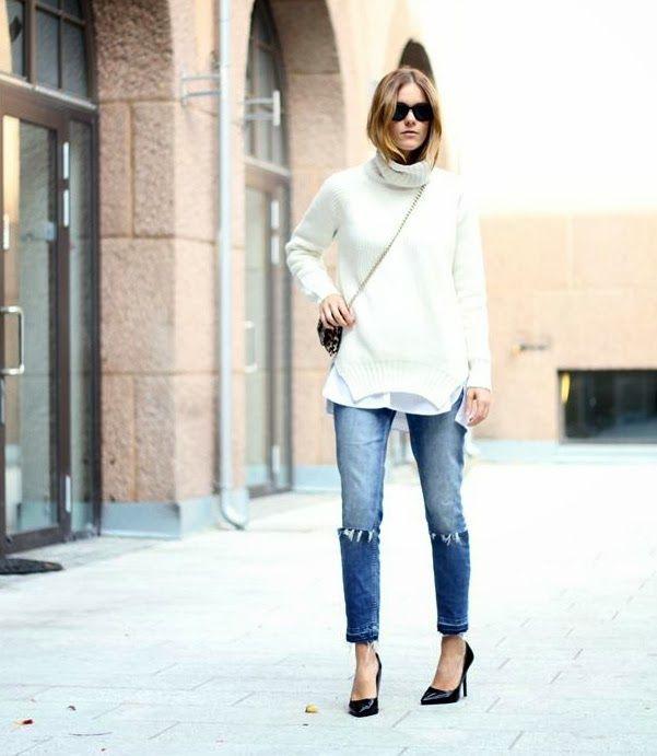 Oversized Turtleneck + Skinny Jeans + Black Pumps + Cross-Body Purse = DOABLE!