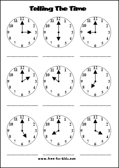 Printables for telling time.