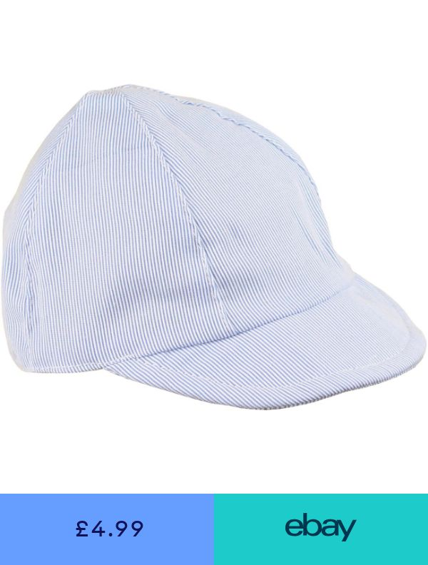 f56194b8f BabyPrem Baby Boys Sun Hats Blue & White Striped Beach Summer Cap NB ...