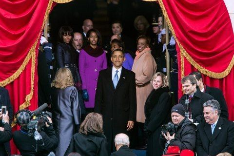 A great moment: President Barack Obama turns back before leaving the balcony of the Capital to look at the enormous crowd 'one more time' before his 2nd Presidential Inauguration came to an end. President Obama took the Oath of Office in the public ceremony & then gave his 2nd Presidential Inaugural Speech.