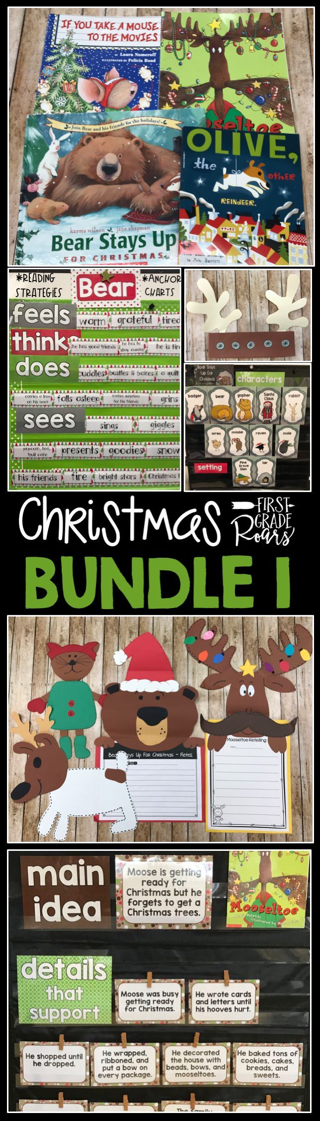 This fun bundle is a combination of four different individual stories. The stories included are, If you Take a Mouse to the Movies by Numeroff, Mooseltoe by Palatini, Bear Stays up for Christmas by Wilson, and Olive the Other Reindeer. Each unit is packed with several choices of reading comprehension strategies, writing ideas, some math games, and crafts. These are the perfect stories to use during the holiday season. Now included colorful anchor charts for each story.