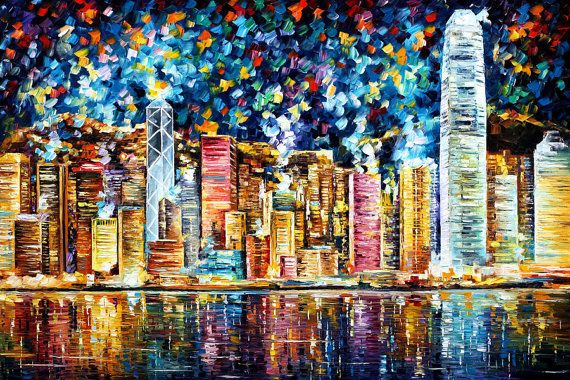 """Hong Kong — PALETTE KNIFE Cityscape Contemporary Wall Art Deco Oil Painting On Canvas By Leonid Afremov - Size: 40"""" x 30"""" (100 cm x 75 cm)"""