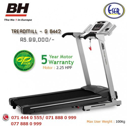 Eser Fitness G6442  is equipped with the largest running belt. This Treadmill include Green power energy saving monitor with 5 year worranty