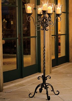 A romantic dinner on your terrace includes a fine wine, evening breezes, and candlelight supplied by our La Scala Floor Candelabra.