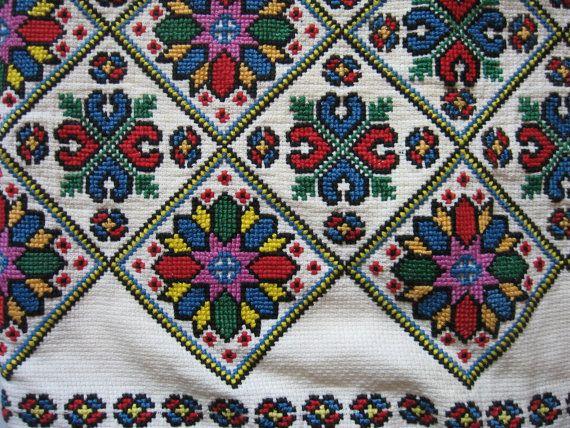 Vintage cross stitch small decorative pillow case cover sham danish mod floral motif handmade