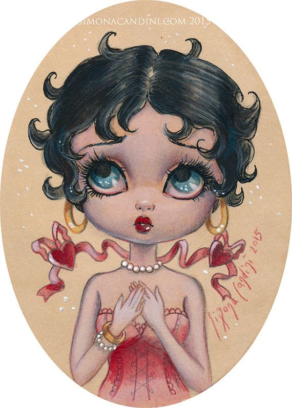 Bettie Boop LIMITED EDITION 25 prints signed numbered Simona Candini lowbrow pop surreal big eyes flapper vintage fantasy