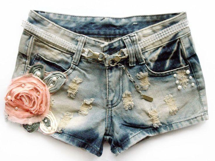 Las mujeres 2012 delgado usado agujero flores ultracortos jeans al por mayor, de cintura baja, desigual de