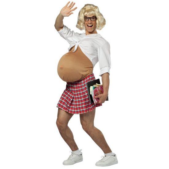 Zwanger schoolmeisje kostuum. Dit grappige kostuum bestaat uit een bodysuit, topje en rokje. Leuk voor carnaval! One size kostuum, ongeveer M/L. Carnavalskleding 2015 #carnaval