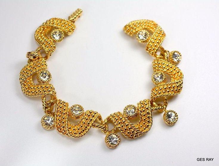 Vintage Swarovski Swan Dangle Bracelet Crystals Enamel 18 K Plated   #Swarovski