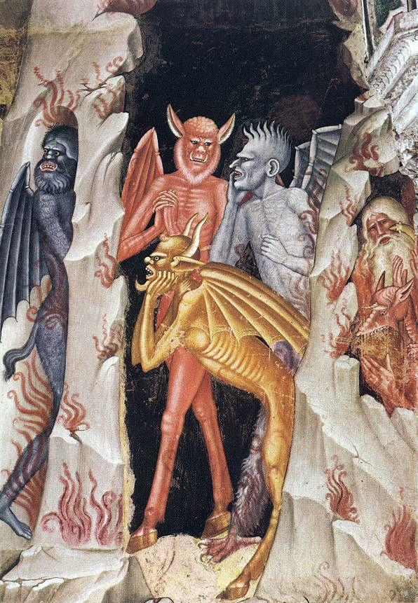 """Descente du Christ dans les Limbes"" or ""The Descent of Christ into Limbo"" (detail). Andrea Bonaiuti, also known as Andrea da Firenze (Italian, died 1379). Second of two slides."