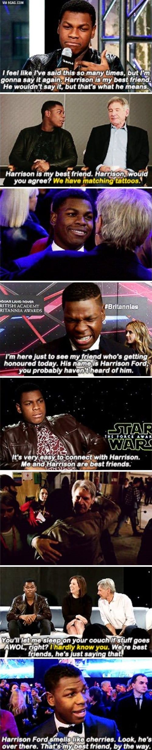 John Boyega seems to like Harrison Ford. In fact, it's possible they're best friends.