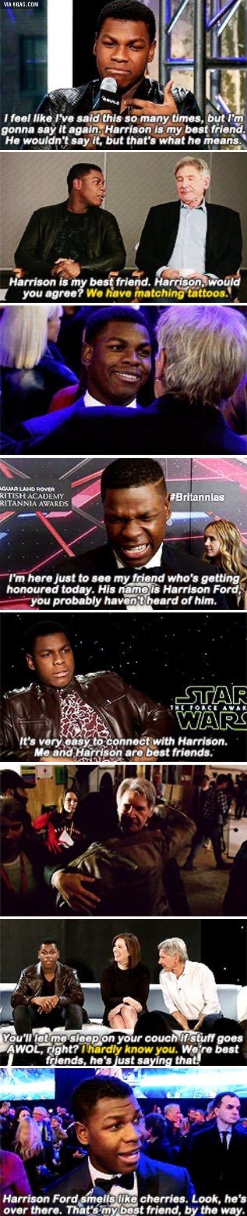 John Boyega seems to like Harrison Ford. In fact, it's possible they're best friends.